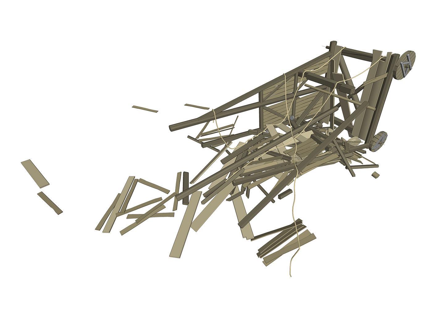 Tour de siège détruite
